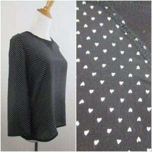 MADEWELL Silk Blend Mini Hearts Print Shirt